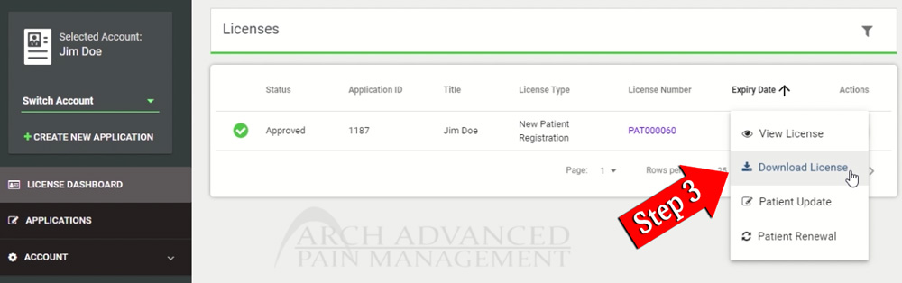 How to Download Missouri MMJ Card (Download License) Step 3